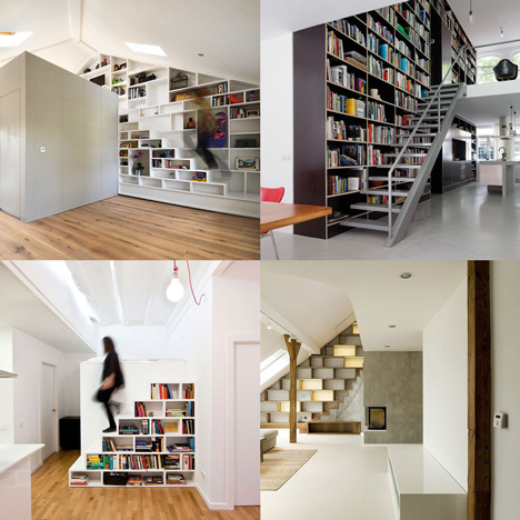Staircases with integrated shelving