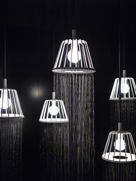 in shower lighting waterproof nendos installation combines showers with lamps the featuring ceiling lights and floor light that produce cascade of water from waterdream showerlights by nendo for axor