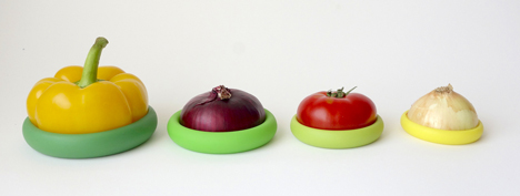 Range of four silicone caps fit snuggly onto left over fruit and vegetables