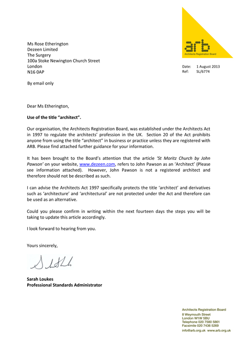 ARBu0027s Letter To Dezeen. Click To View A Larger Version