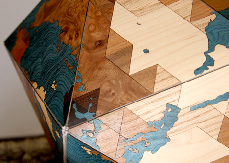 Dymaxion Woodocan World by Nicole Santucci and Woodcut Maps