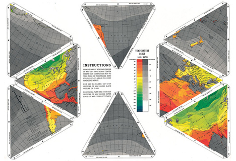 Printable version of the Dymaxion Map featured in Life magazine