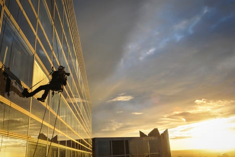 Abseiling architectural photography by Carlos Ayesta
