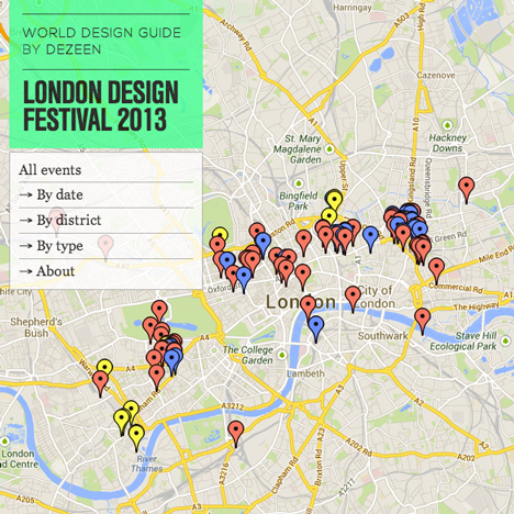 Dezeen's World Design Guide map of the London Design Festival 2013