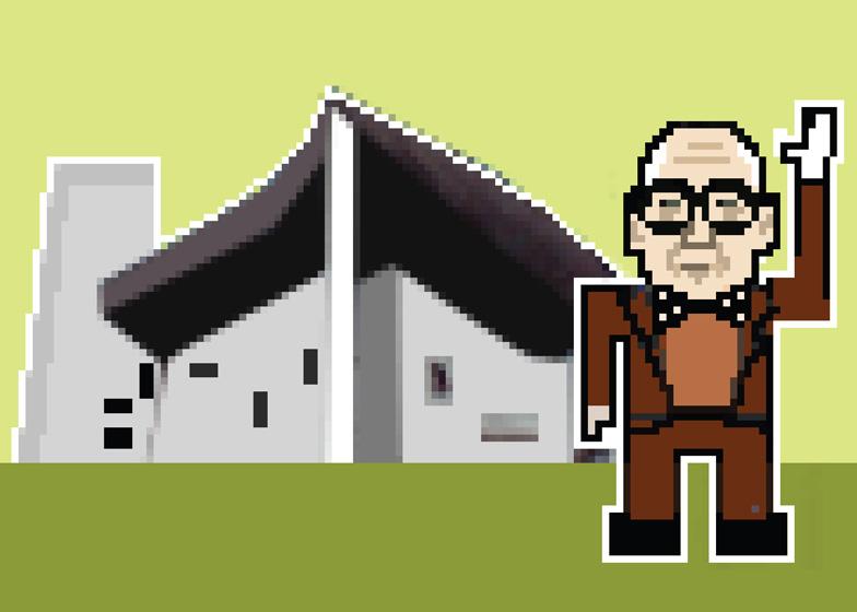 Le Corbusier with his Notre Dame du Haut