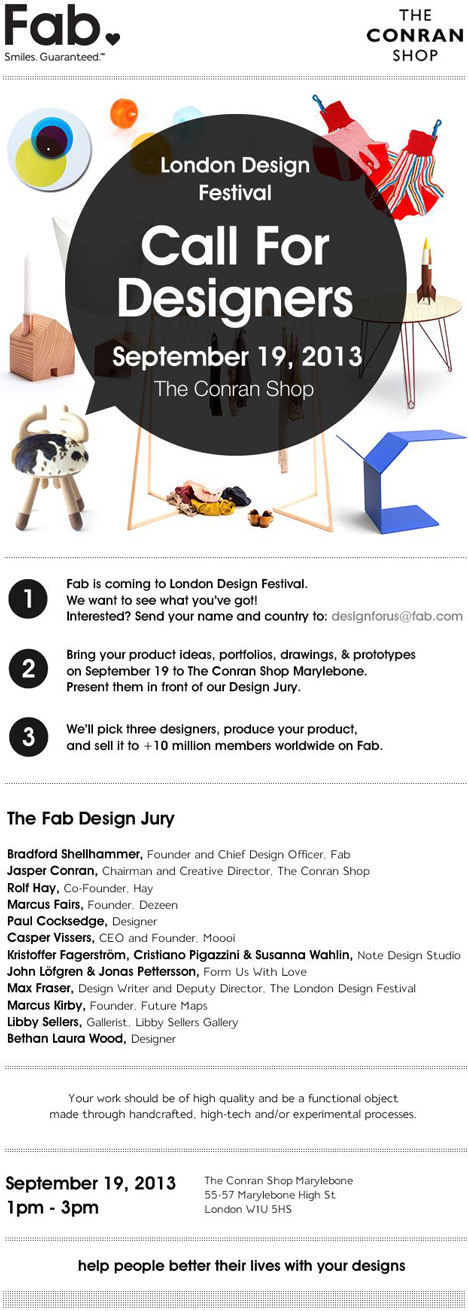 Call for designers to Fab's Disrupting Design London