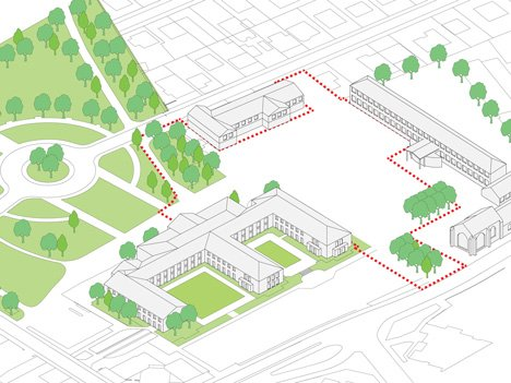dezeen_Gymnasium and Town Hall esplanade by LAN Architecture_Axonometric