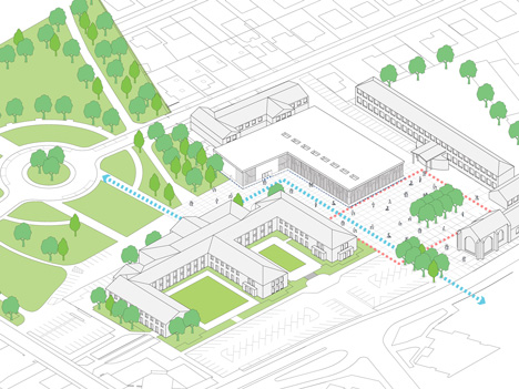 dezeen_Gymnasium and Town Hall esplanade by LAN Architecture_Axonometric_new