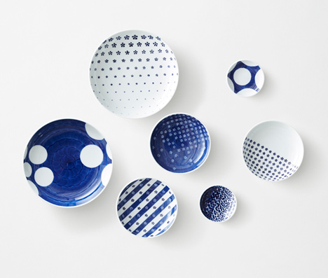 Patterned porcelain ceramics by Nendo