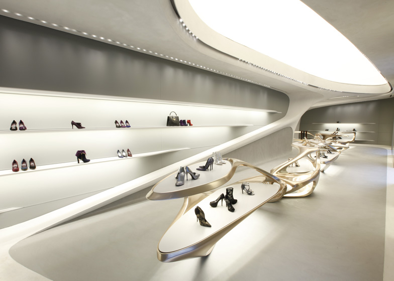 Zaha Hadid designs boutiques for Stuart Weitzman