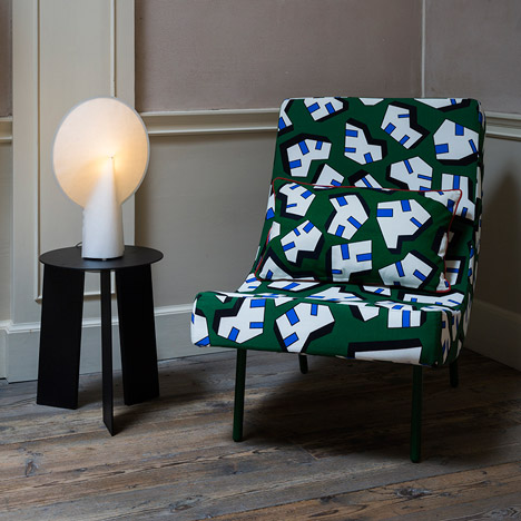 Nathalie Du Pasquier's textile designs cover a chair by Hay