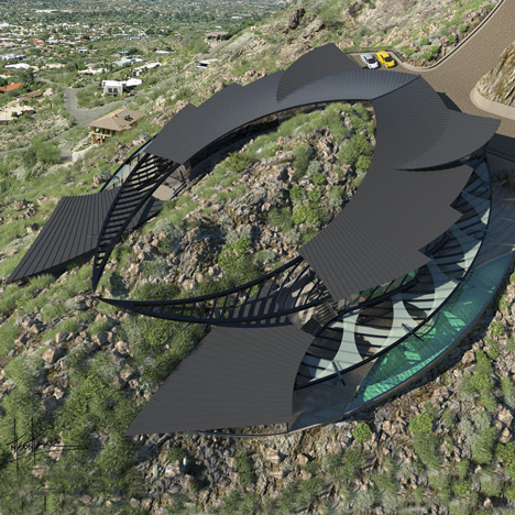 Manta ray-shaped house set to straddle an Arizona mountain