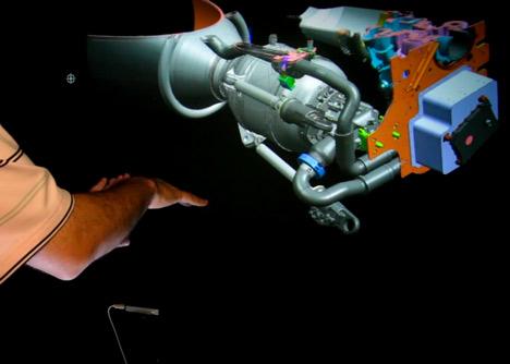 3D engine model edited using hand-gestures