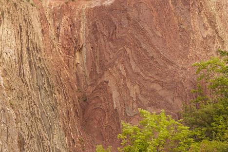 Sedimentary rock formations at the Prokopské údolí nature reserve in the Czech Republic