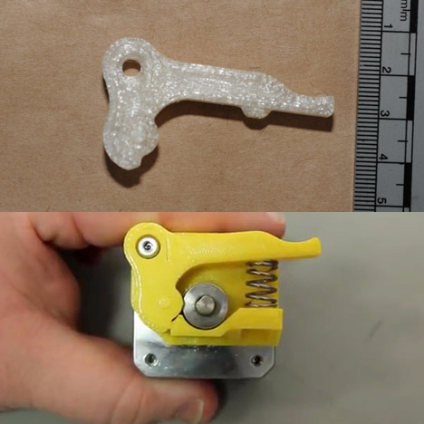 "3D printed ""trigger"" found by Greater Manchester Police compared to a Makerbot Replicator 2 extruder alternative"