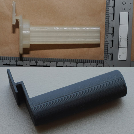 3D-printed part found by Greater Manchester Police compared to Makerbot Thingiverse filament spool holder