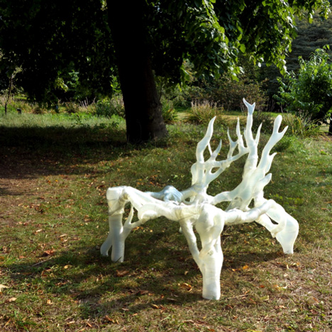 Scale model of 3D-printed Mycelium Chair by Eric Klarenbeek
