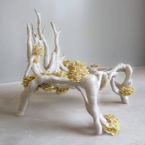 Mycelium Chair by Eric Klarenbeek<br /> is 3D-printed with living fungus