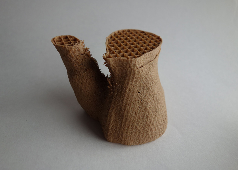 Segment of 3D-printed Mycelium Chair by Eric Klarenbeek