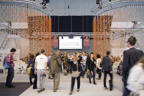 Amass modular space divider by Benjamin Hubert for 100% Design's auditorium