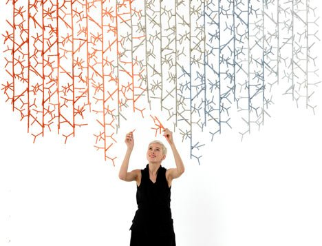 Amass modular space divider by Benjamin Hubert for 100% Design's auditorium