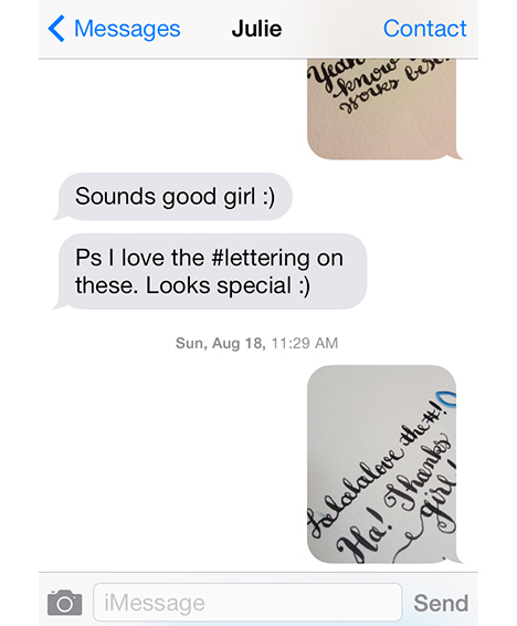 Modern Day Snail Mail calligraphy text messages by Cristina Vanko