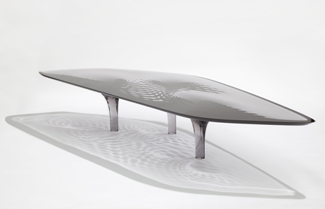"Out of Hand: Materializing the Postdigital at MAD - Liquid Glacial ""Smoke"" Coffee Table by Zaha Hadid and Patrik Schumacher"