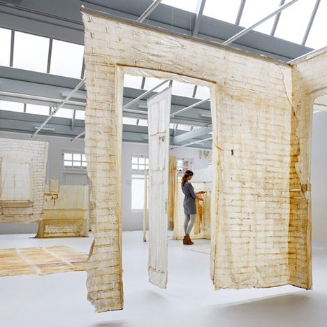 Skinned latex casts of derelict buildings by KNOL Ontwerp