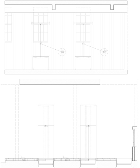 Concept diagram of folding tables of Arts Council England West Midlands Office by Moxon Architects