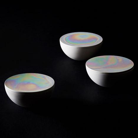 Aurora Pots with iridescent lids by Phil Cuttance