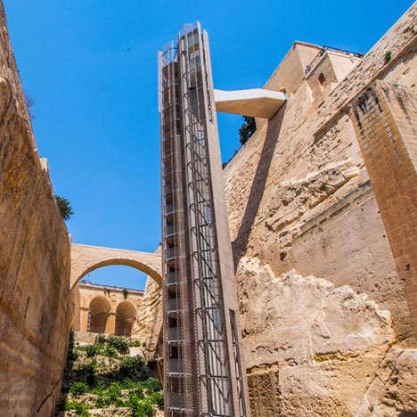 "Malta's 20-storey outdoor lift was designed to look ""like an old building"""