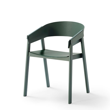 Cover chair with wood folded over the arms by Thomas Bentzen for Muuto