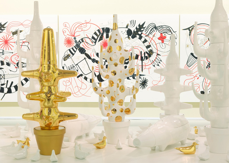 Ceramic objects by Jaime Hayon on display at the Groninger Museum