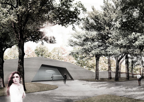 Garden of the 21st Century pavilion with spiral staircase under a park in Warsaw by Mecanoo