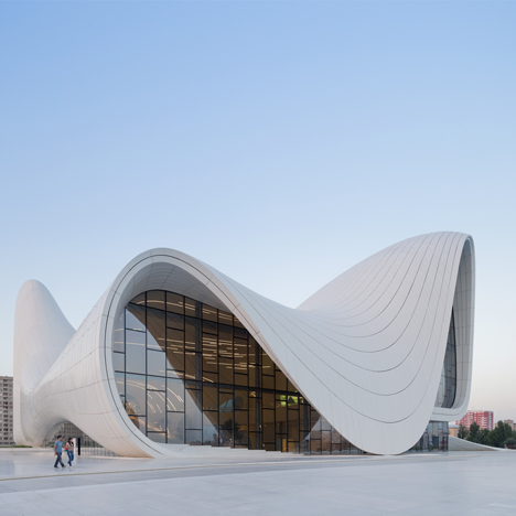 Zaha Hadid's Heydar Aliyev Center rises from the landscape in Baku