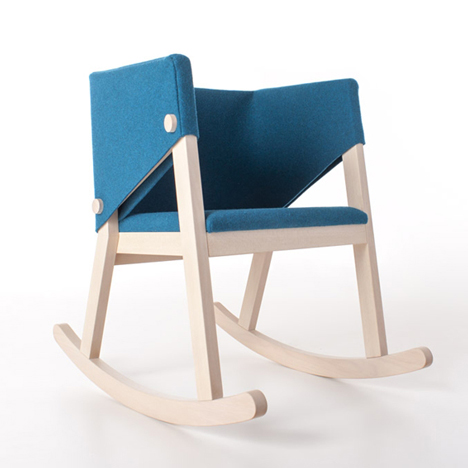 Felt-upholstered rocking chair by Giancarlo Cutello