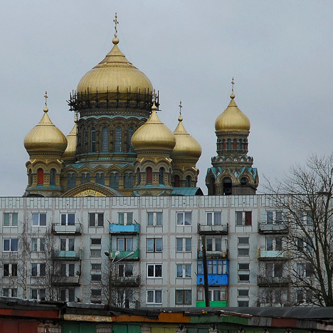Karosta cathedral and Soviet buildings