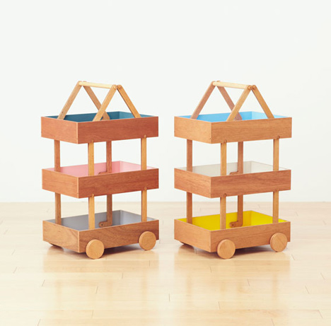 Koloro Wagon stacking wooden storage boxes by Torafu Architects_dezeen_11