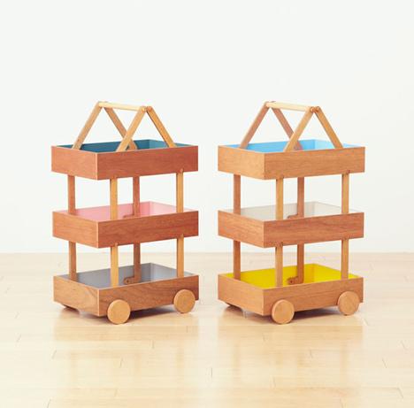 Koloro Wagon stacking wooden storage boxes by Torafu Architects_dezeen_11