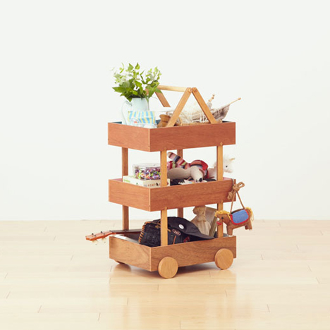 Koloro-wagon stacking wooden storage boxes by Torafu Architects