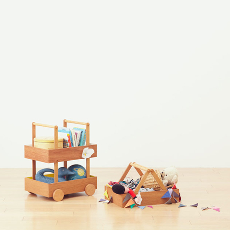 Koloro Wagon stacking wooden storage boxes by Torafu Architects_dezeen_3