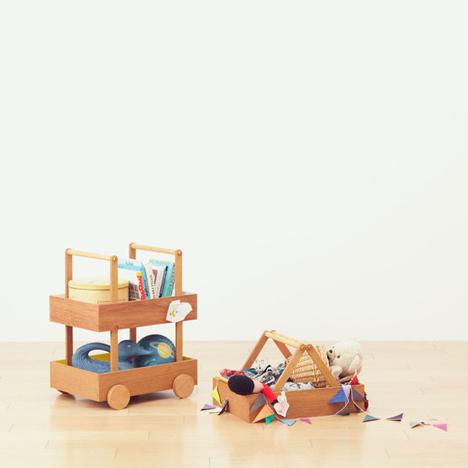 Koloro Wagon stacking wooden storage boxes by Torafu Architects_dezeen_3