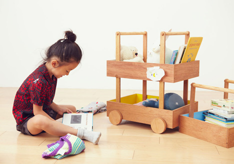 Koloro Wagon stacking wooden storage boxes by Torafu Architects_dezeen_6