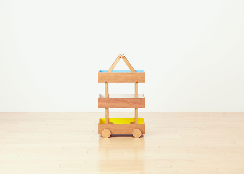 Koloro Wagon stacking wooden storage boxes by Torafu Architects