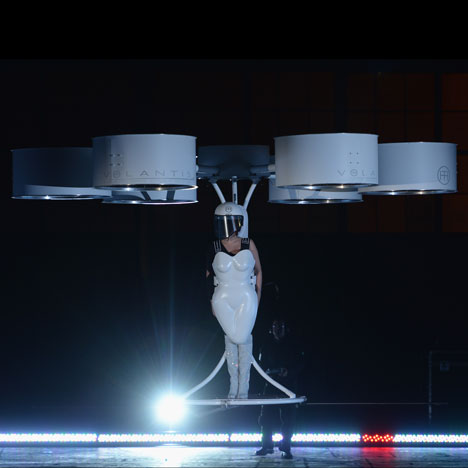 "Lady Gaga pilots ""first flying dress"""