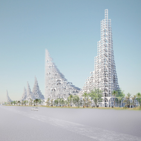Sou Fujimoto designs masterplan featuring water cascading down towers of arches