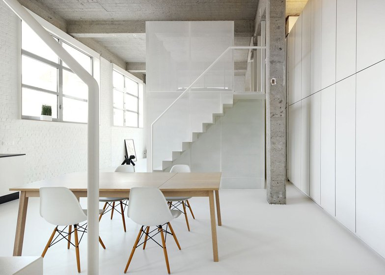 Loft apartment with super thin staircases by adn architectures