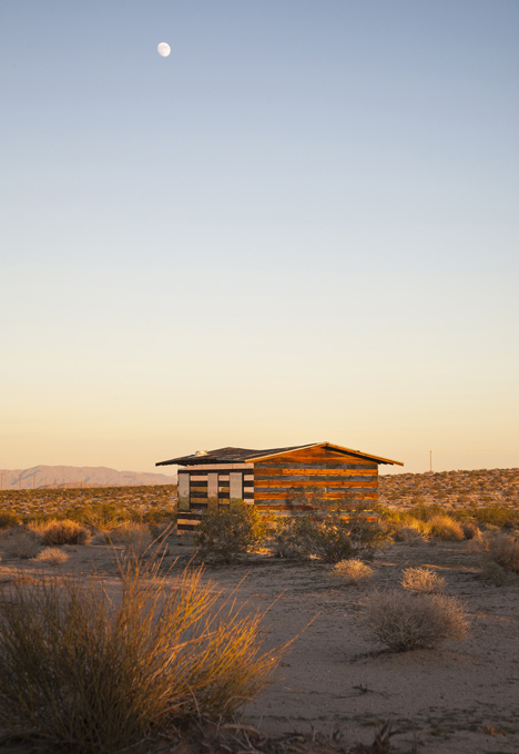 Lucid Stead installation by Phillip K Smith III gives the illusion of invisibility to a desert cabin
