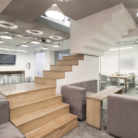 Staircase with upside-down sections at an office in Mexico