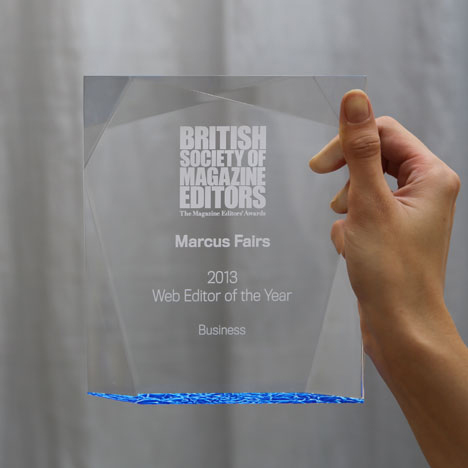 Marcus Fairs wins BSME Web Editor of the Year Award 2013